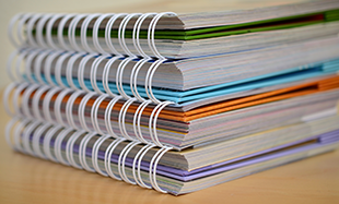 Stack of training books