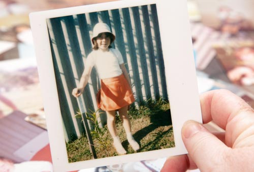 polaroid picture of a young girl