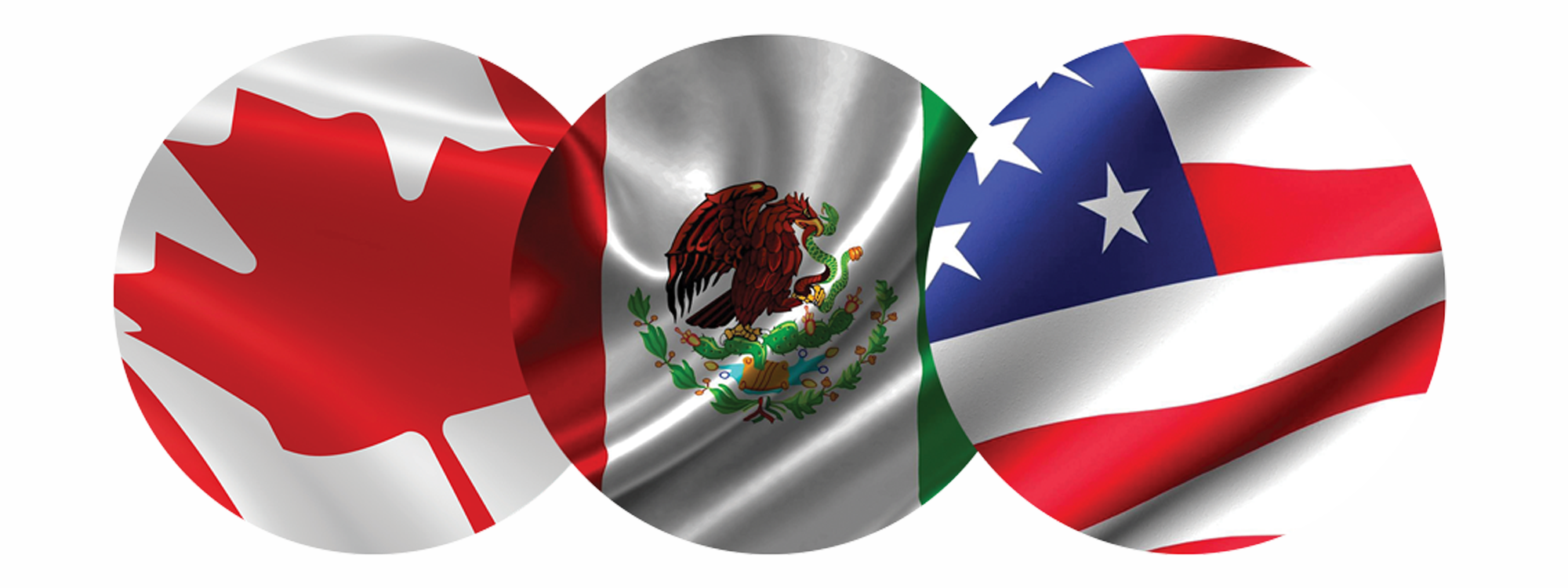 Canadian, Mexican and United States flags
