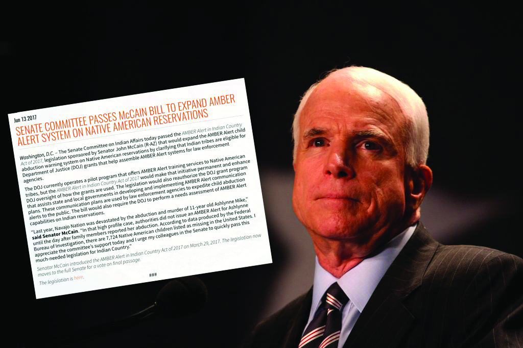 John McCain bill for Tribal AMBER Alert