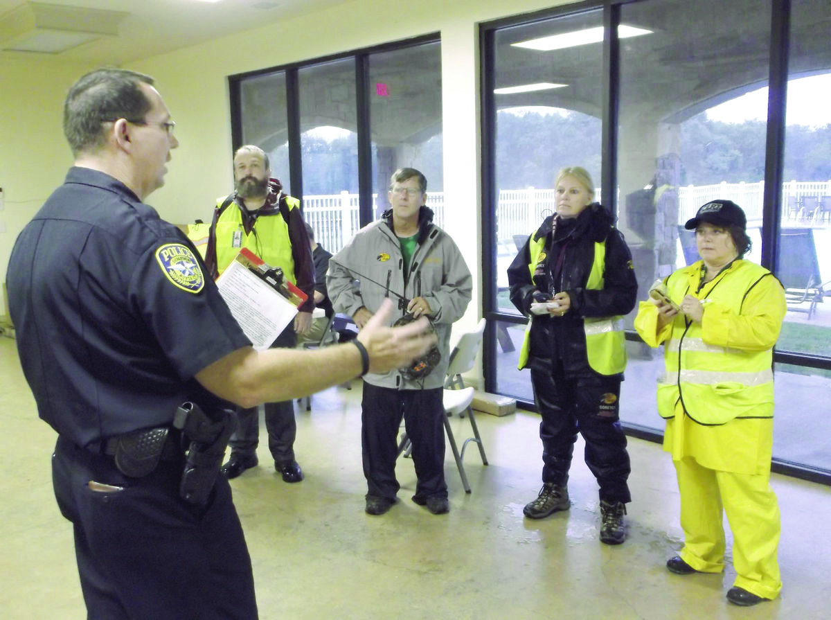 volunteers in a police exercise