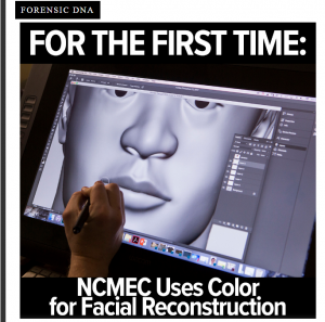 NCMEC uses color for facial reconstruction: Image of forensic artist working on digital image of a facial reconstruction