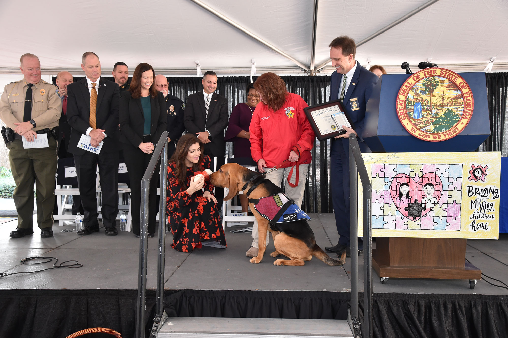 (From front, left to right) Colonel James Wiggins – Dept. of Agriculture and Consumer Services, Deputy Chief Jay Ethridge – Dept. of Financial Services, Ashley Moody – Florida Attorney General, Casey Desantis – First Lady of Florida, Commissioner Richard Swearingen – Florida Department of Law Enforcement