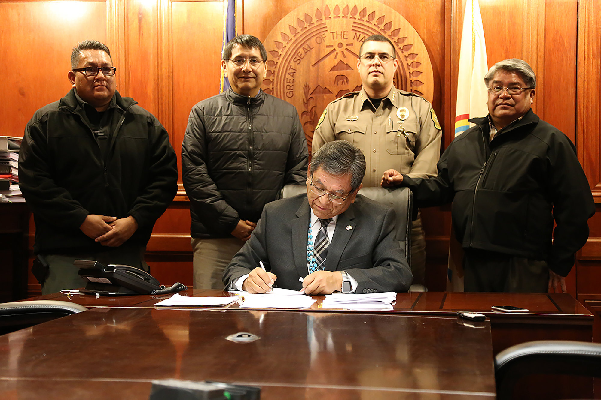 Navajo Nation President Russell Begaye is joined by NDEM Director Harland Cleveland, Vice President Jonathan Nez, Chief of Police Phillip Francisco and DPS Director Jesse Delmar.