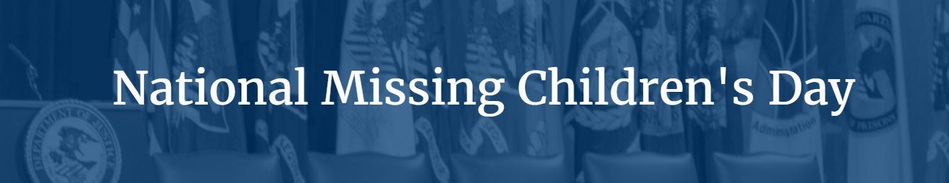 Image of US Department of Justice web page recognizing the 2021 National Missing Children's Day Awardees